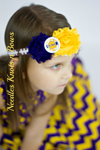LSU Tigers Headband, Louisiana State University Headband, Girls Shabby Chic Football Headband