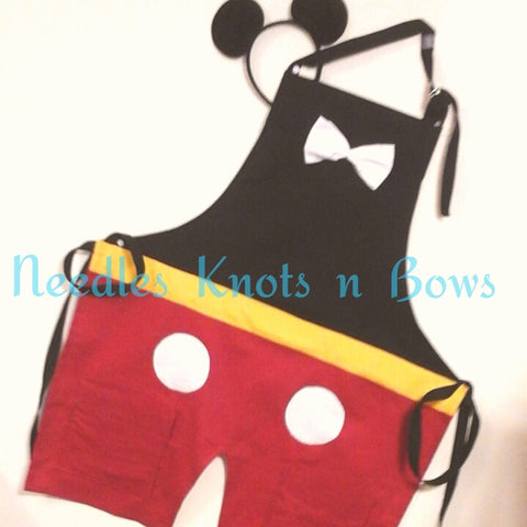Mens Mickey Mouse Costume Apron, Birthday Party Prop, Aprons