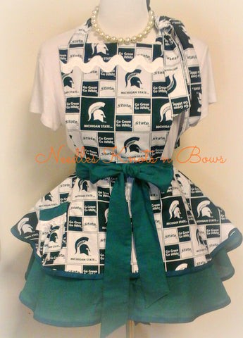 Michigan State Womens Apron, Spartens Football Game Day Apron, Aprons, MSU Spartens