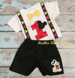 Boys Mickey Mouse Birthday Outfit, a cute set for the Birthday Boy to wear during his First / Second Birthday Party.