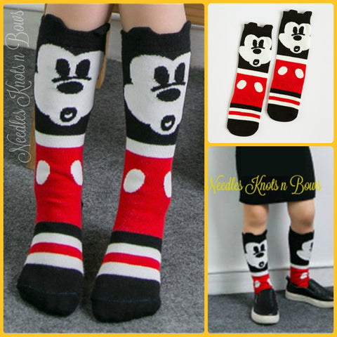 Mickey Mouse Socks, Kids Cartoon Socks, Mickey Mouse Knee High Socks, Boys or Girls, Toddler Socks