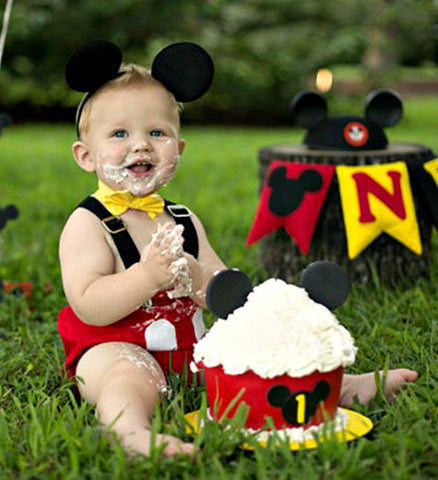 Boys Mickey Mouse 1st Birthday Outfit Cake Smash Deluxe Set Boys 1s Needles Knots N Bows