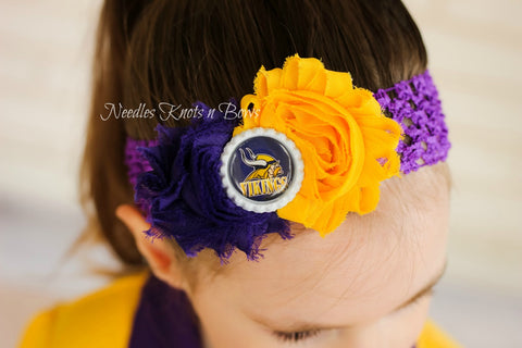 Minnesota Vikings Headband, Girls Shabby Chic Vikings Headband, Football Headband, Game Day