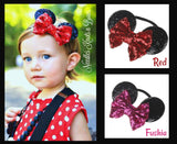 Sequin Minnie Mouse Ears Nylon Headband, Red or Hot Pink, Girls Minnie Mouse Ears