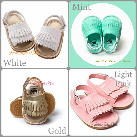 Baby Girls Sandals, Leather Fringe Sandals, Baby Sandals, Pre Walker Sandals, Crib Shoes