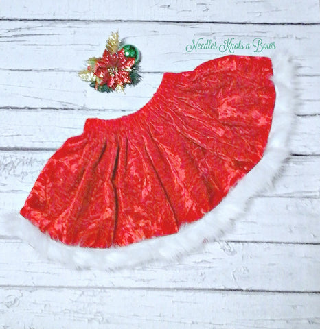 Mrs Claus Christmas Skirt, Girls Velvet Skirt, Baby Girls Red Velvet Skirt With Faux Fur Trim