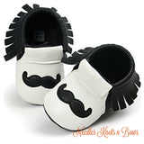 Boys Mustache Moccasins, Baby Boys Prewalker Shoes, Crib Shoes, Baby Moccasins, Non Slip