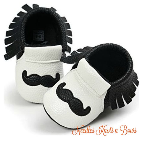 Mustache Moccasins, Baby Boys Prewalker Shoes, Crib Shoes, Baby Moccasins, 3 Sizes, 0/6 mo - 7/12mo - 13/18 mo