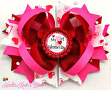 My 1st Valentines Day Hair Bow,  Baby Girls First Valentines Day Headband