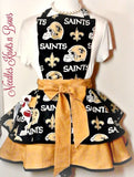 New Orleans Saints Womens Apron, Womens Saints Football Apron, Tailgaters, Hostess Apron