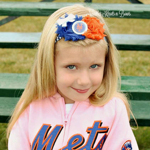 New York Mets Headband, Shabby Chic Baseball Headband, Baby Girls, Girls, Teens, Womens Accessories