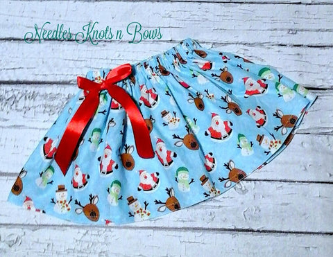 Santa & Friends Girls Christmas Skirt, Baby Girls Blue Christmas Skirt