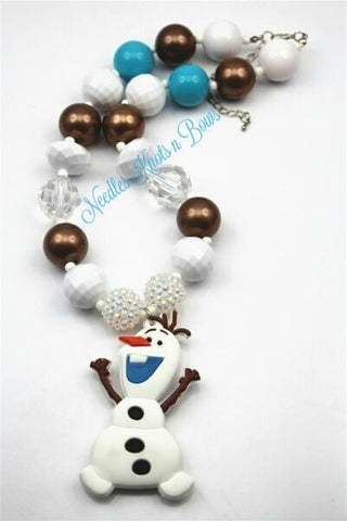 Olaf Chunky Bead Bubblegum Necklace With Olaf Pendant, Girls Olaf Pendant Necklace, Frozen Necklace