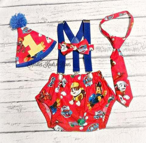 Boys Paw Patrol Cake Smash Set, Boys First Birthday Cake Smash Outfit, Paw Patrol Birthday