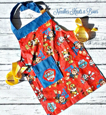 Boys Paw Patrol Apron, Kids Apron, Child Apron, Toddlers, Kids in the Kitchen, Cooking Class