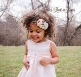 Pink & White Flower Nylon Headband, Baby Girls, Newborns, Girls Flower Crown Headband,