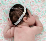 Girls Pearl Bow Lace Headband, Newborn Headband, Baby Christening, Blessing, Baptism Headband, Newborn Photography Prop Headband, Weddings