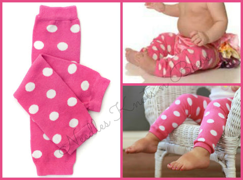 Girls Pink Polka Dot Legwarmers, Pink n White Polka Dot Legwarmers, Babies, Infants, Toddlers, Newborns