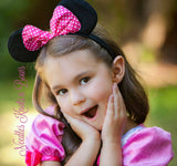 Girls Minnie Mouse Ears, Red or Pink Polka Dot Bow Minnie Mouse Ears Headband, Minnie Mouse Birthday