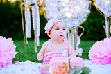Baby Girls Pink & White 1st Birthday Outfit, Birthday Cake Smash Set, Baby Girls Coming Home Outfit