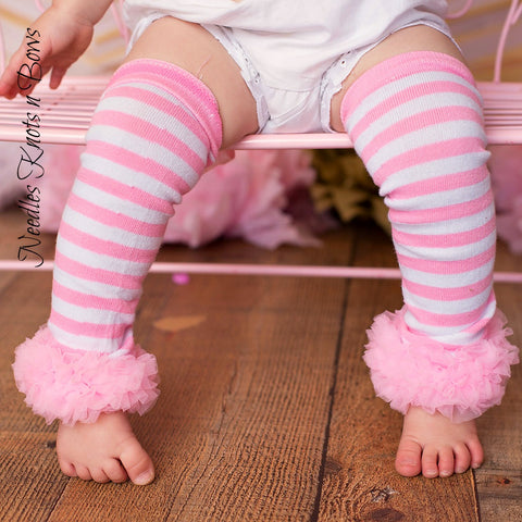 Pink Striped Legwarmers with Chiffon Ruffle, Legwarmers, Infants, Newborns, Toddlers, Girls Photo Prop