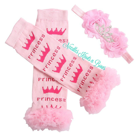 Princess Leg Warmers with Pink Ruffles, Girls Princess Accessory Set, Princess Headband