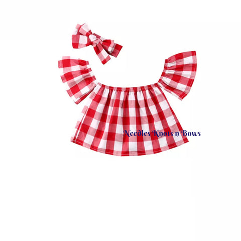 Girls Red Boho Gingahm Crop Top, Red Checkered Off The Shoulder Crop Top & Headwrap Set, Red Gingham Headwrap