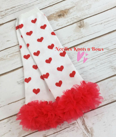 Valentines Leg Warmers, Red Hearts on White. Girls Ruffled Valentines Legwarmers, Accessories