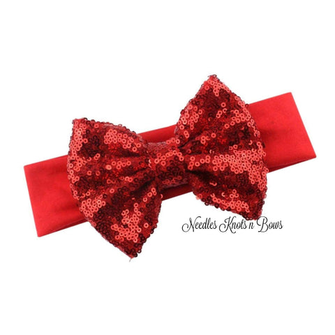 "5"" Red Sequin Bow Headband, Baby Headband, Toddlers, Red Sequin Bow Turban Headband"