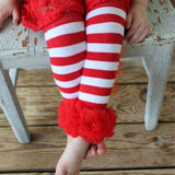 Girls Red and White Striped Legwarmers with Red Ruffles, Ruffled Leg Warmers,