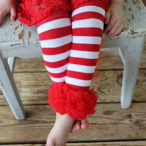 Girls Red and White Stripped Legwarmers with Red Chiffon, Girls Accessory, Legwarmers, Infants, Toddlers