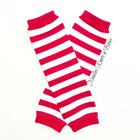 Red White Striped Legwarmers, Candy Cane Leg Warmers, Christmas