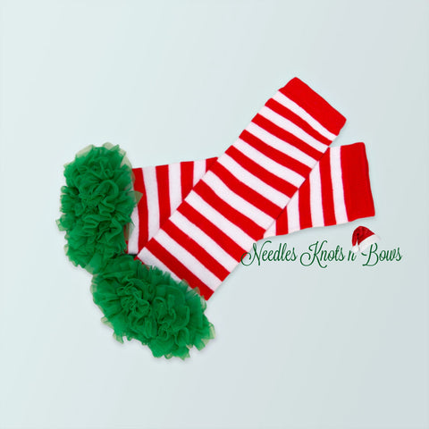 Girls Red and White Striped Legwarmers with Green Ruffles, Ruffled Christmas Leg Warmers,