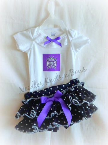 Sacramento Kings Girls Outfit, Baby Girls Kings Basketball Outfit, Baby Shower Gift, Game Day