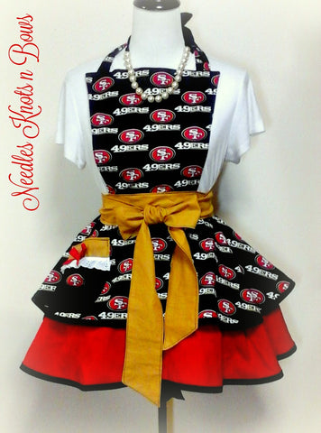 San Francisco 49ers Womens Apron, Womens Forty Niners Football Apron, Aprons, Kitchen Apron