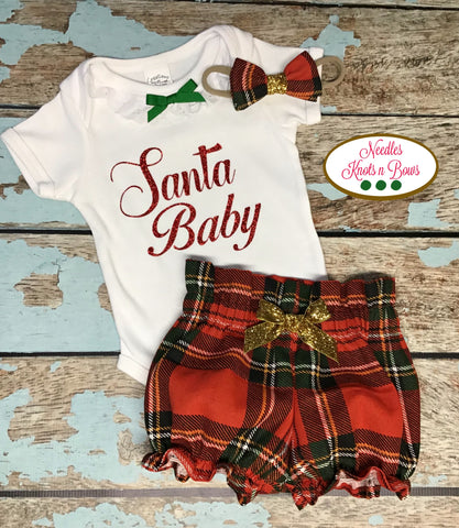 Girls Santa Baby Outfit, Baby Girls Christmas Outfit, High Waist Christmas Plaid Bloomers