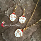 Santa Clause Necklace and Earring Set, Christmas Jewelry Set
