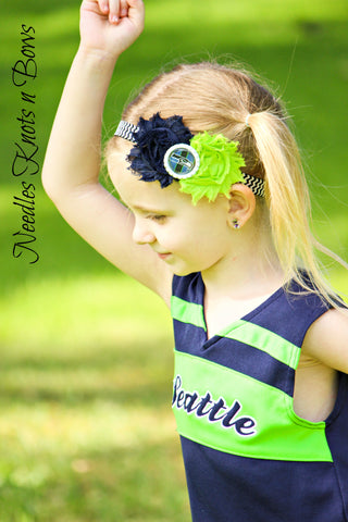 Seattle Seahawks Headband, Girls Seahawks Shabby Chic Football Headband, Baby Girls & Girls Accessories