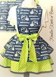 Seattle Seahawks Womens Apron, Womens Flirty Style Football Team Apron, Sexy Hostess Hawks Game Day Apron, Tailgating