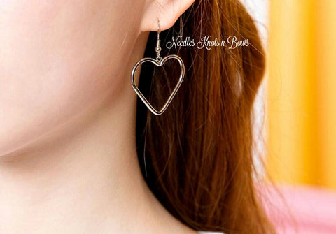 Silver Heart Earrings, Dangle Heart Earrings, Valentines Day Earrings, Drop Earrings