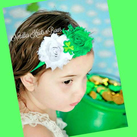 Saint Patricks Day Headband, Girls Shamrock Headband, Shabby Chic Shamrock Headband