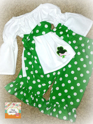 Girls Saint Patricks Day Outfit, White Belle Sleeve Peasant Top with Ruffled Pants,  Girls St Patty's Day Pageant OOC Outfit, Pageant Wear