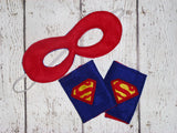 Superhero mask and cuffs can be added on
