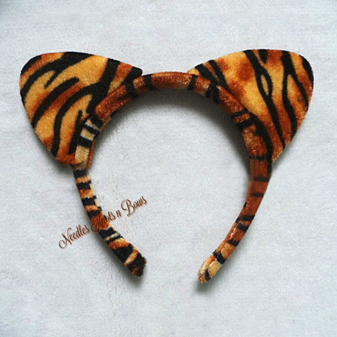 Tiger Print Plush Cat Ears, Girls Cat Ears, Girls Headband, Girls Hair Accessories, Tiger Headband