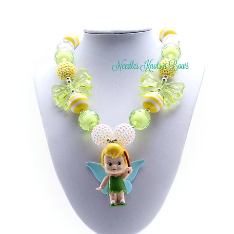 Tinkerbell Chunky Bead Bubblegum Necklace, Disney, Tinkerbell Necklace, Girls Jewelry, Girls Chunky Bead Necklaces
