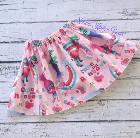 Girls Troll Skirt, Troll Twirl Skirt, Girls Cartoon Character Skirt, Trolls, Sizes 6/9 Months, 12, 18, Size 2, 3, 4, 5, 6, 7, 8