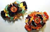 Thanksgiving Hair Bow, Fall Hair Bow, Turkey Hair Bow, Girls Thanksgiving Headband, Hair Clip, OTT Headband