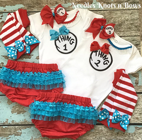 Twin Girls Birthday Outfit, Girls Thing 1 & Thing 2 Birthday Outfits, Girls Dr. Suess Birthday, Twin Girls Cake Smash