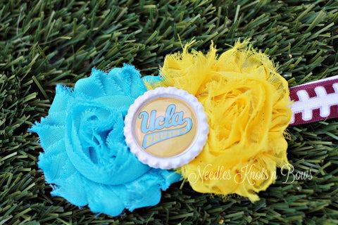 UCLA Bruins Headband, Girls UCLA Shabby Chic Football Headband, College Football, Game Day