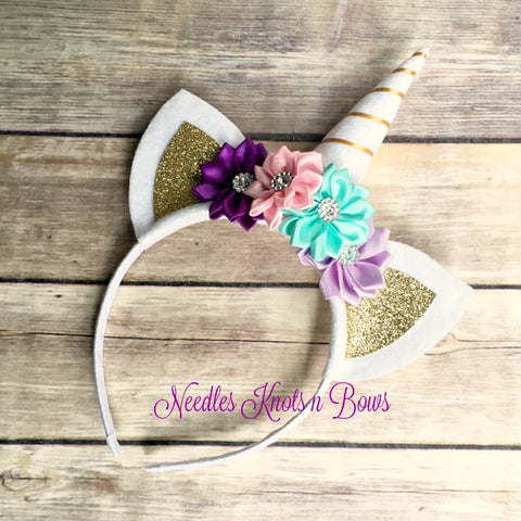 Unicorn Headband, Girls Gold & White Unicorn Headband with Pastel Flowers, Unicorn Birthday